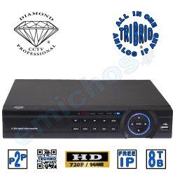 DMD918708 της Diamond Επαγγελματικό Οικονομικό Hybrid Καταγραφικό 8 καμερών της Diamond 8CH καναλιών HVR CCTV HD 960P 960H HDMI Hexaplex με 2 Hard Disk εως 8TB Η264 Δικτυακο για περιμετρικη προστασια και ασφαλεια